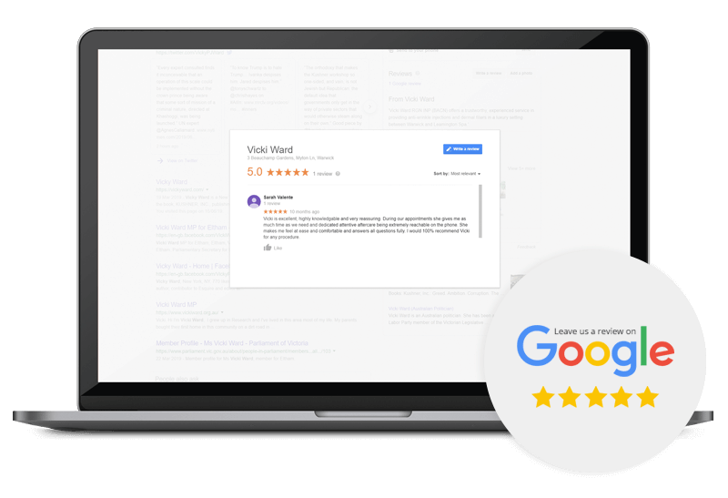 laptop screen with vicki ward google review